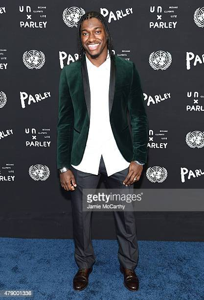 Professional football player Robert Griffin III attends the United Nations x Parley For The Oceans Launch Event at the United Nations General...