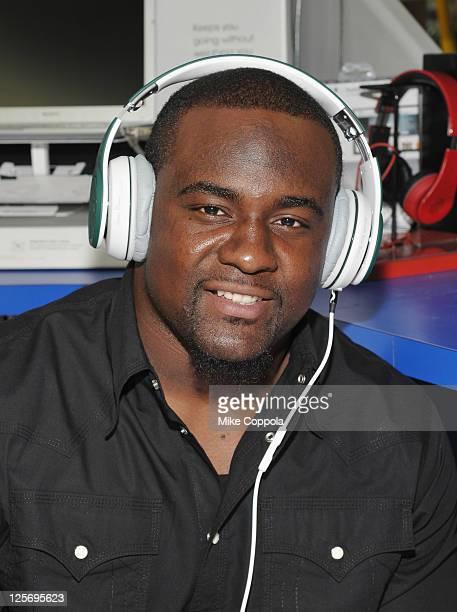 Professional football player Shonn Greene attends Fanny Wang Headphone Co. Over Ear DJ Wangs Launch Party with Prince Amukamara, Shonn Greene and...