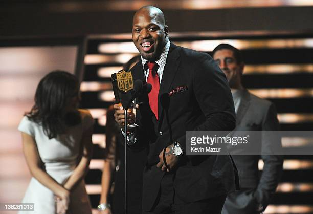 Professional Football Player Terrell Suggs speaks during the 2012 NFL Honors at the Murat Theatre on February 4 2012 in Indianapolis Indiana