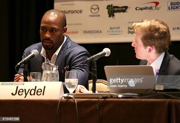 Professional football player Vernon Davis and Daniel Jeydel Associate Director at Neo@Ogilvy speak onstage at 'Pro Athletes Taking Control of Their...