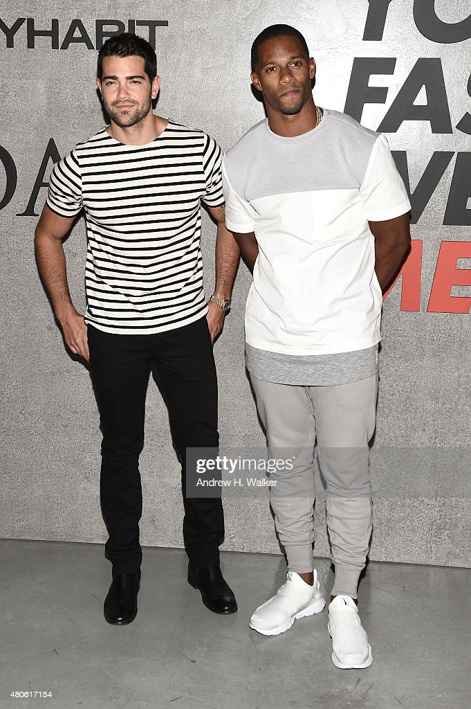 Professional Football Player Victor Cruz (R) and actor Jesse Metcalfe attend the opening event for New York Fashion Week: Men's S/S 2016 at Amazon Imaging Studio on July 13, 2015 in Brooklyn, New York.