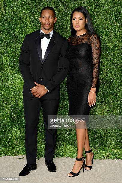 Professional Football Player Victor Cruz and Elaina Watley attend the 12th annual CFDA/Vogue Fashion Fund Awards at Spring Studios on November 2 2015...