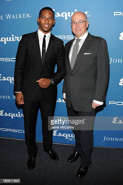 Professional football player Victor Cruz and Esquire EditorinChief David Granger attend the Esquire 80th anniversary and Esquire Network launch...