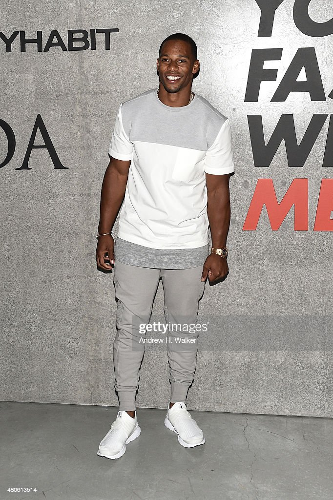 Professional Football Player Victor Cruz attends the opening event for New York Fashion Week: Men's S/S 2016 at Amazon Imaging Studio on July 13, 2015 in Brooklyn, New York.