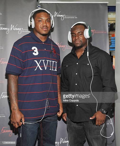 Professional football players Jeff Cumberland and Shonn Greene attend Fanny Wang Headphone Co. Over Ear DJ Wangs Launch Party with Prince Amukamara,...