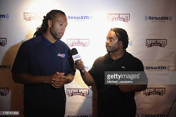 Professional Football players Larry Fitzgerald and Maurice Jones-Drew attend the SiriusXM Celebrity Fantasy Football Draft at Hard Rock Cafe - Times...