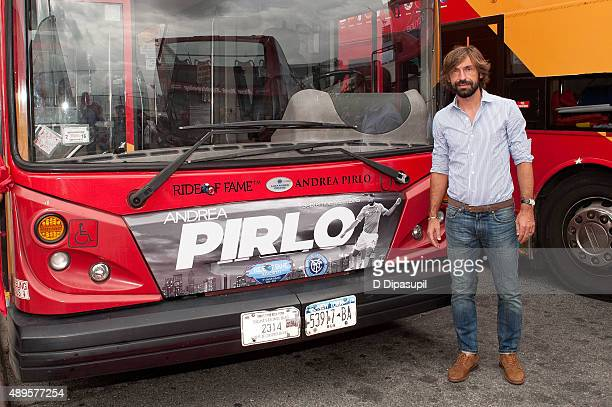 Professional footballer Andrea Pirlo attends the New York City Football Club Ride of Fame Induction Ceremony at Pier 78 on September 22 2015 in New...