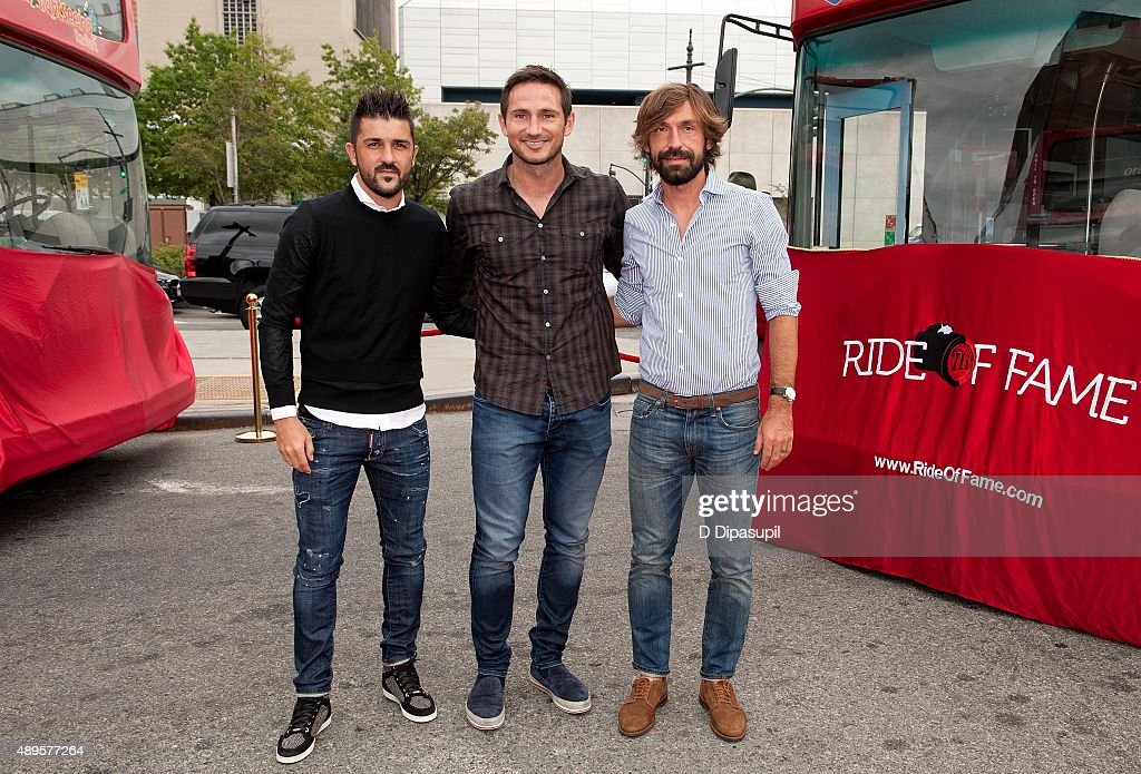 Professional footballers David Villa, Frank Lampard, and Andrea Pirlo attend the New York City Football Club Ride of Fame Induction Ceremony at Pier 78 on September 22, 2015 in New York City.