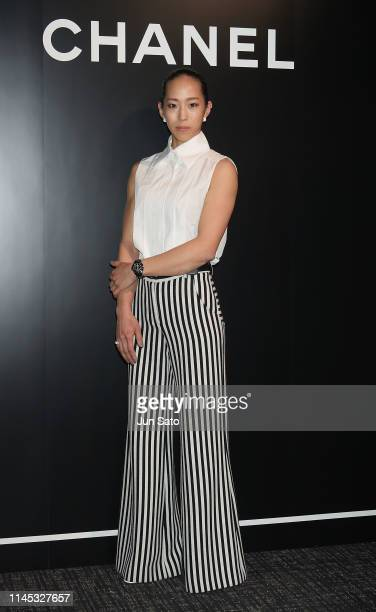 Professional free climber Akiyo Noguchi attends CHANEL's J12 Special Preview 'Decisive Seconds' event on May 21 2019 in Tokyo Japan