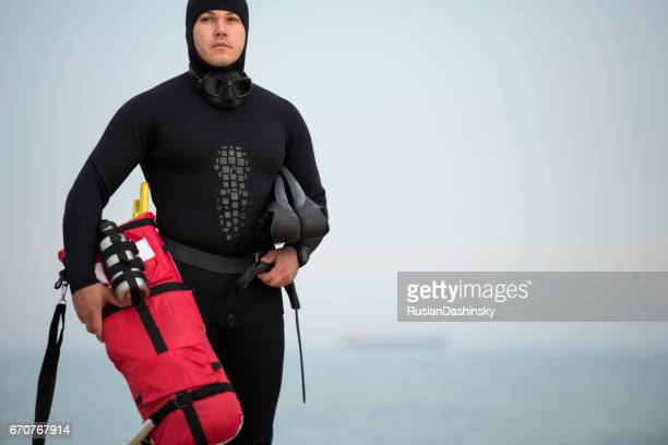 Professional free diver man portrait.