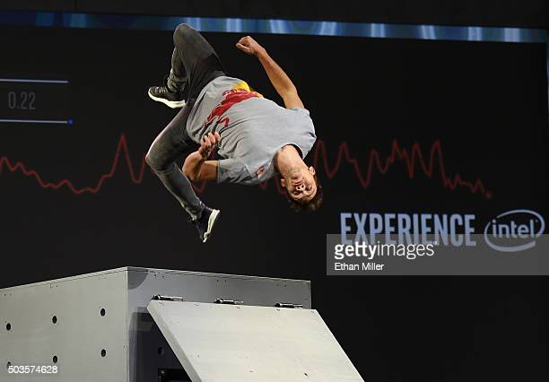 Professional free runner Jason Paul performs a twisting jump off an obstacle while Intel technology records data in real time during a keynote...