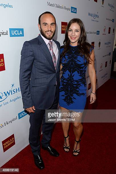 Professional LA Galaxy soccer player Landon Donovan and his girlfriend Hannah Bartell attend the MakeAWish Greater Los Angeles Wishing Well Winter...