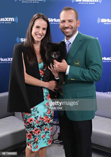 Professional golfer and masters winner Sergio Garcia and his fiancee Angela Akins with their dog Bear visit the SiriusXM Studios on April 11 2017 in...