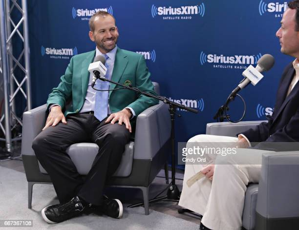 Professional golfer and masters winner Sergio Garcia is interviewed on SiriusXM PGA TOUR RadioÕs The Starter with Taylor Zarzour at the SiriusXM...
