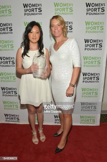 Professional golfer Annika Sorenstam poses with tennis player Vivian Hao with the Annika Inspiration Award during the 34th annual Salute to Women In...