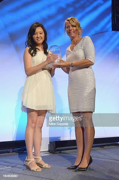 Professional golfer Annika Sorenstam presents tennis player Vivian Hao with the Annika Inspiration Award onstage during the 34th annual Salute to...