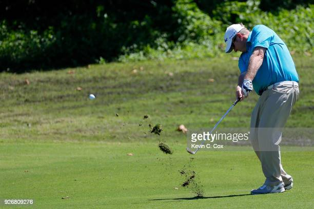 Professional golfer Brad Fritsch plays a shot on the 15th hole during the second day of the Puerto Rico Open Charity ProAm at TPC Dorado Beach on...