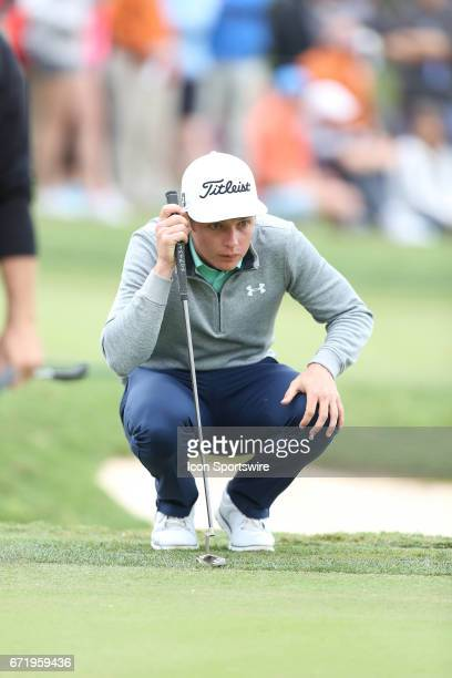 Professional golfer Cameron Smith studies the line of his putt during the 3rd round of The Valero Texas Open on April 22 2017 at TPC San Antonio in...