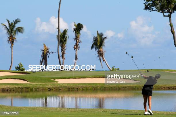 Professional golfer Cheyenne Woods plays a shot on the fourth hole during the second day of the Puerto Rico Open Charity ProAm at TPC Dorado Beach on...