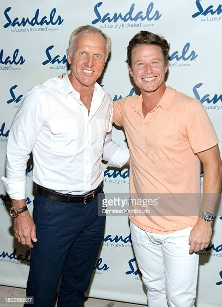 Professional Golfer Greg Norman and Billy Bush attend the Happy Hour Welcome Reception Discovery Dining Dinner during Day Two of the Sandals Emerald...