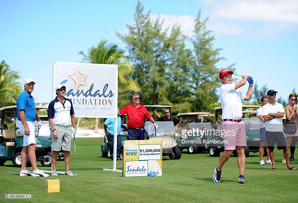 Professional Golfer Greg Norman Kevin Rahm Alan Thicke and Billy Bush attend the Sandals Foundation Million Dollar HoleInOne Shootout and Golf Clinic...