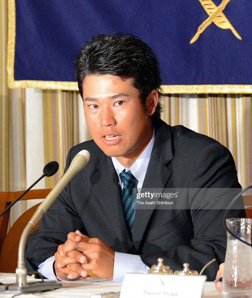 Professional golfer Hideki Matsuyama speaks during a press conference at Foreign Correspondents' Club in Japan on May 20, 2013 in Tokyo, Japan.