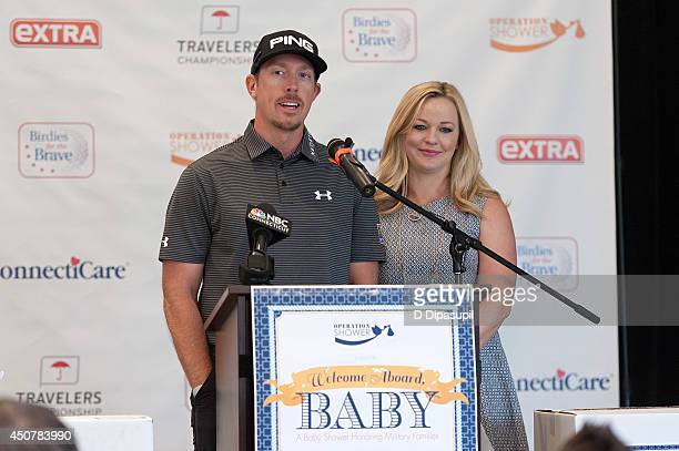 TOUR professional golfer Hunter Mahan and wife Kandi Mahan speak on stage during Operation Shower's Welcome Aboard Baby at TPC River Highlands on...
