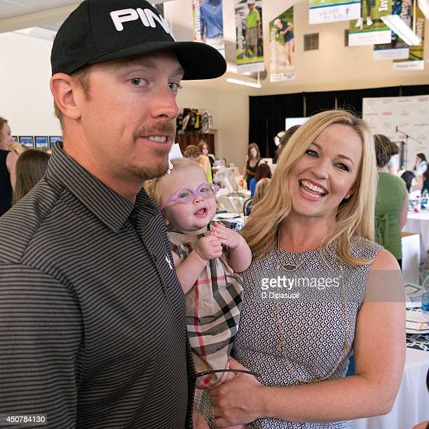 PGA TOUR professional golfer Hunter Mahan daughter Zoe Mahan and wife Kandi Mahan attend Operation Shower's Welcome Aboard Baby at TPC River...