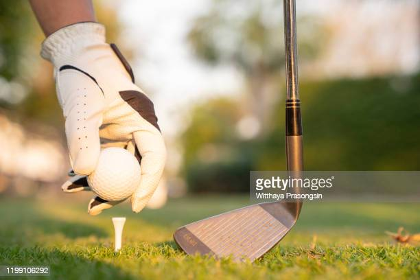 professional golfer is preparing for a great strike. - ゴルフクラブ ストックフォトと画像