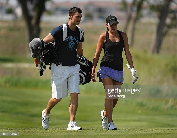 Professional golfer Martin Kaymer caddied for girlfriend Allison Micheletti at the Colorado Women's Open at Green Valley Ranch Thursday afternoon...