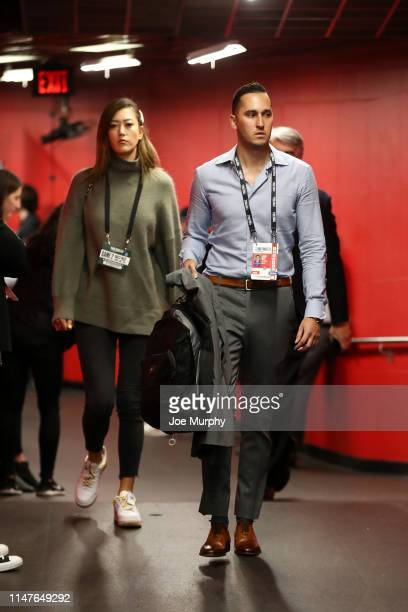 Professional golfer Michelle WIe and Jonnie West arrive at the arena before Game Two of the NBA Finals between the Toronto Raptors and Golden State...