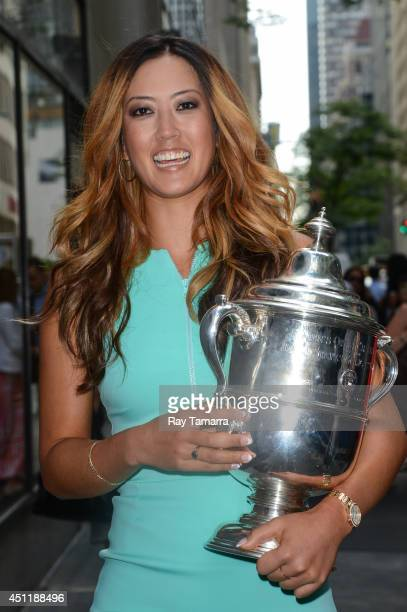 Professional golfer Michelle Wie leaves the 'Today Show' taping at the NBC Rockefeller Center Studios on June 24 2014 in New York City