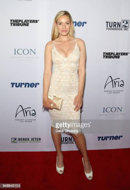 Professional golfer Paige Spiranac attends the 2018 Derek Jeter Celebrity Invitational gala at the Aria Resort Casino on April 19 2018 in Las Vegas...