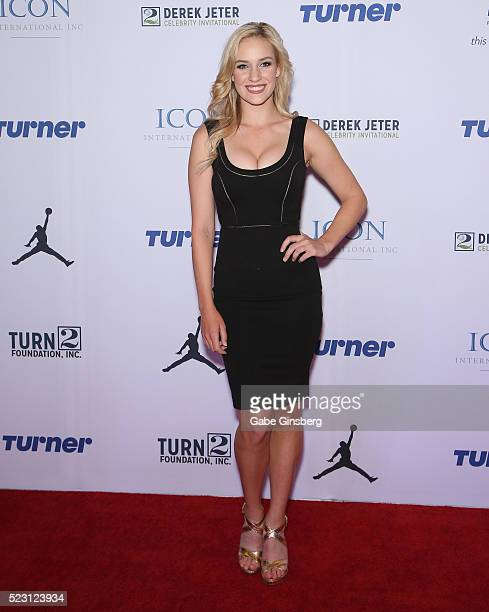 Professional golfer Paige Spiranac attends the Derek Jeter Celebrity Invitational gala at the Aria Resort & Casino on April 21, 2016 in Las Vegas,...