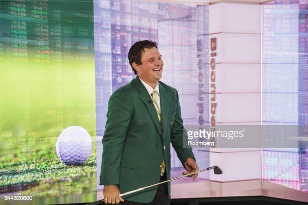 Professional golfer Patrick Reed laughs during a Bloomberg Television interview in New York US on Tuesday April 10 2018 Reed talked about winning the...