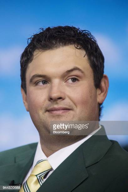 Professional golfer Patrick Reed listens during a Bloomberg Television interview in New York US on Tuesday April 10 2018 Reed talked about winning...