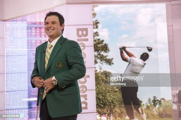 Professional golfer Patrick Reed smiles during a Bloomberg Television interview in New York US on Tuesday April 10 2018 Reed talked about winning the...