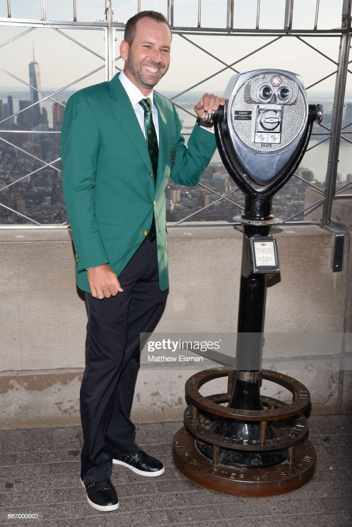 Professional golfer Sergio Garcia visits the Empire State Building a day after winning the 81st Masters tournament on April 10, 2017 in New York City. Garcia won his first major on his 74th try after defeating Justin Rose in a playoff.