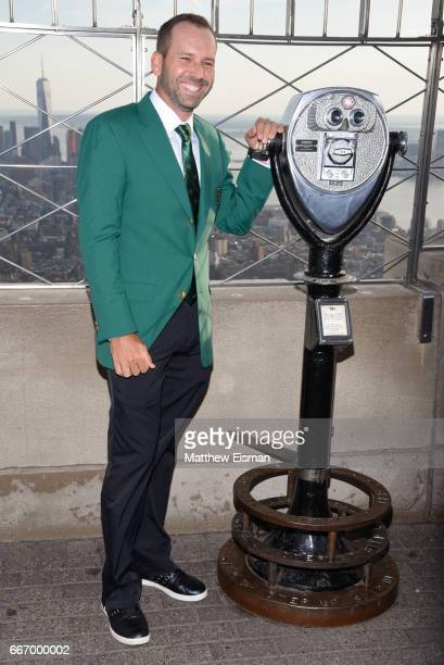Professional golfer Sergio Garcia visits the Empire State Building a day after winning the 81st Masters tournament on April 10 2017 in New York City...