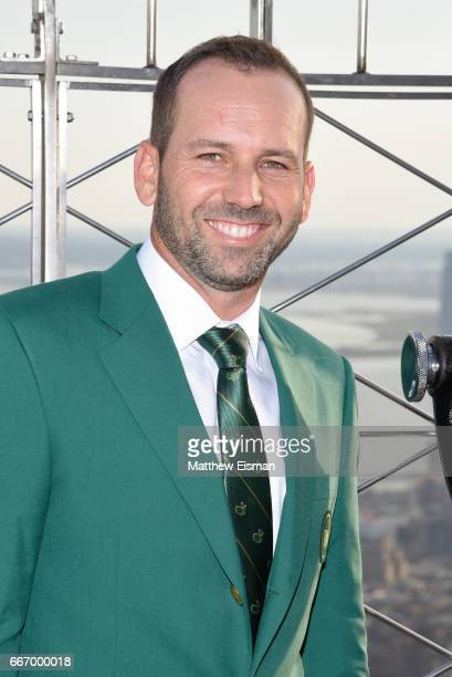 Professional golfer Sergio Garcia visits the Empire State Building a day after winning the 81st Masters tournament on April 10, 2017 in New York...