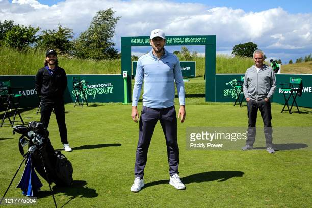 Professional golfer Tommy Fleetwood, Totteham Hotspur footballer Harry Kane and Tottenham Hotspur manager Jose Mourinho pose for a photo during the...