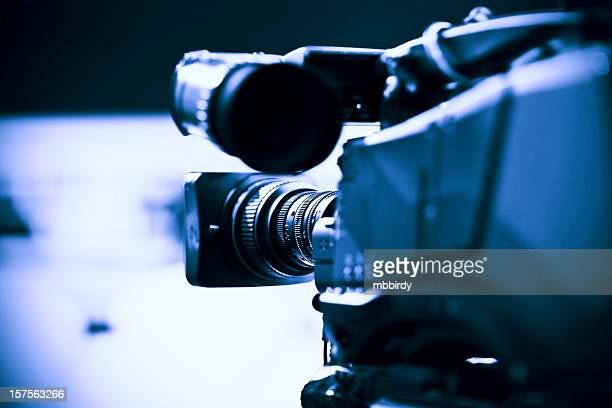 Professional HD broadcast video camera in studio