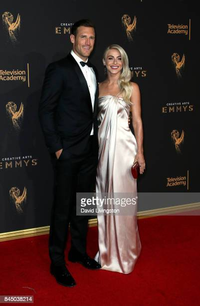Professional hockey player Brooks Laich and actress Julianne Hough attend the 2017 Creative Arts Emmy Awards at Microsoft Theater on September 9 2017...
