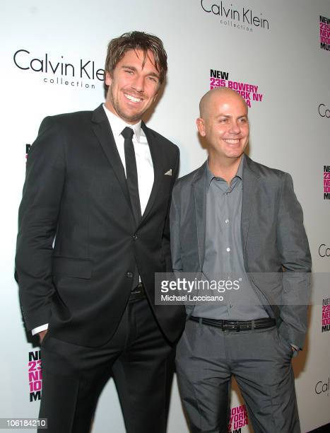 Professional Hockey Player Henrik Lundqvist and designer Italo Zucchelli arrive to the Grand Re-opening Celebration of the New Museum On The Bowery...