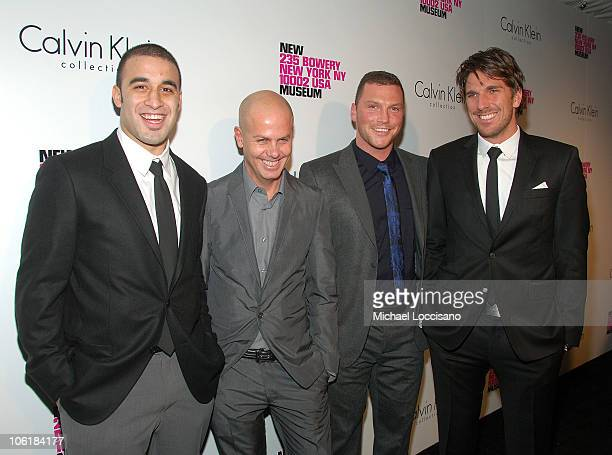 Professional Hockey Player Scott Gomez, designer Italo Zucchelli and Professional Hockey Players Sean Avery and Henrik Lundqvist arrive to the Grand...