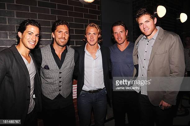 Professional ice hockey player Michael Del Zotto New York Rangers player Henrik Lundqvist Professional ice hockey player Carl Hagelin New York...