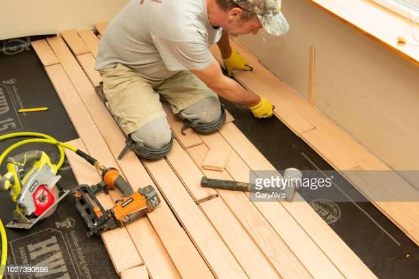 Professional installation of solid oak hardwood floor series