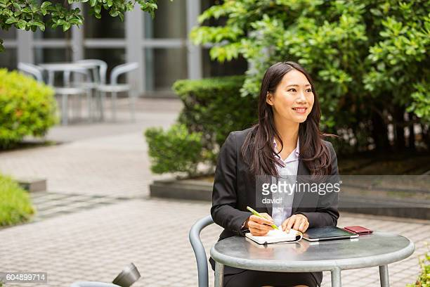Professional Japanese Businesswoman Waiting for a Meeting Outdoors