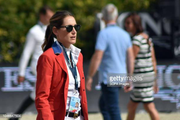 Professional jockey Jessica Rae Springsteen seen posing for a picture before the tournament at the CSIO International Jumping Competition