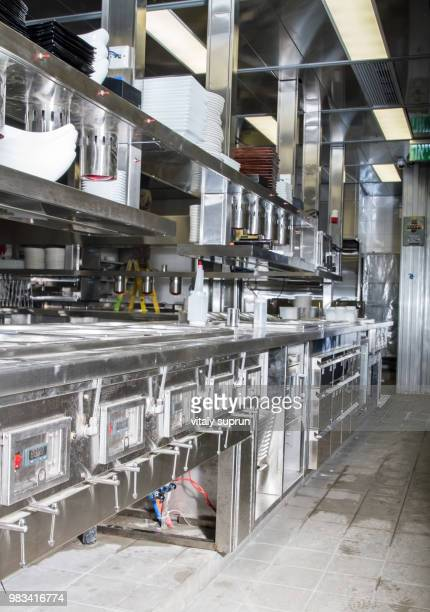professional kitchen, view counter in steel - grinder sandwich stock pictures, royalty-free photos & images